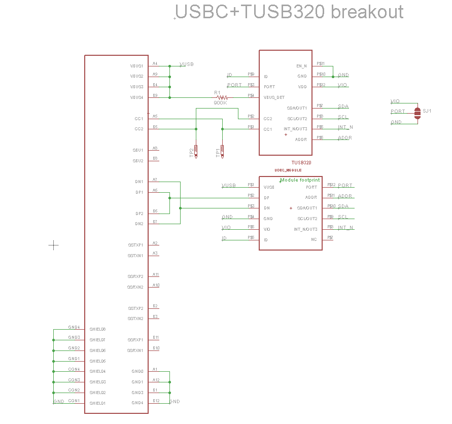 USB-C breakout schematic with control IC
