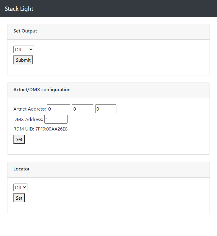 screenshot of the stacklight web interface